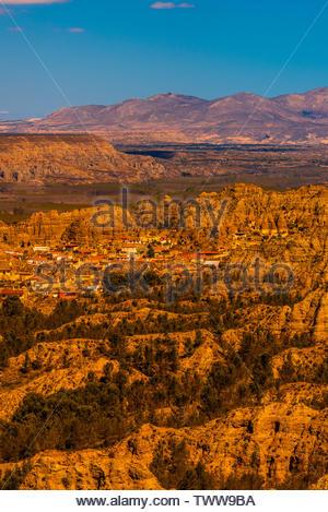Badlands from Mirador del Fin del Mundo, looking to the town of Purullena, near Guadix, Granada Province, Andalusia, Spain. - Stock Image