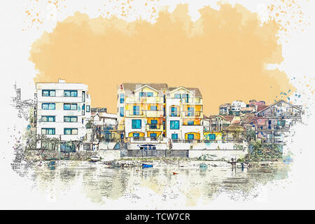 Watercolor sketch or illustration of a view of the architecture or buildings in Tivat in Montenegro. A small coastal tourist town. - Stock Image