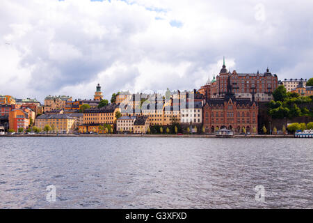 Colorful row of houses Stockholm - Stock Image