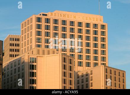 Berlin Mitte Potsdamer Platz Beisheim Tower with Ritz Carlton Hotel top floor with luxery apartements - Stock Image