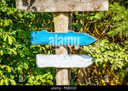 Wooden arrow sign with arrows in colors pointing in the right directions - Stock Image