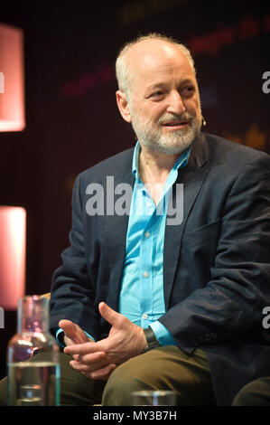 Andre Aciman speaking on stage at Hay Festival 2018 Hay-on-Wye Powys Wales UK - Stock Image