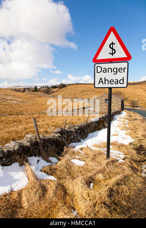 US dollar danger ahead warning sign signs of plummeting currency exchange rate concept sign - Stock Image