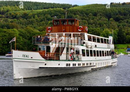 MV Teal,Windermere Lake Cruises, arriving at Ambleside,Lake district,Cumbria,England,UK - Stock Image