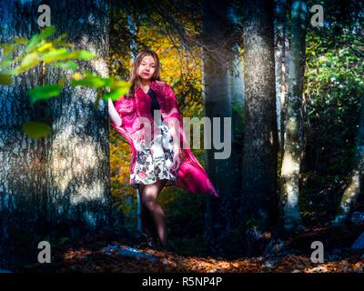 Adolescent teenager girl pretty standing natural in nature deep woodland forest amongst trees in morning - Stock Image