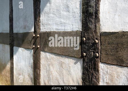 Timber-framed farmhouse detail, St Fagans National Museum of History, Cardiff, South Wales - Stock Image