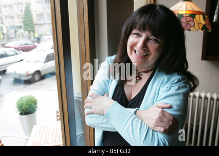 Comedian Janey Godley pictured here in Junk Yard Dog bar in Glasgow's West End - Stock Image