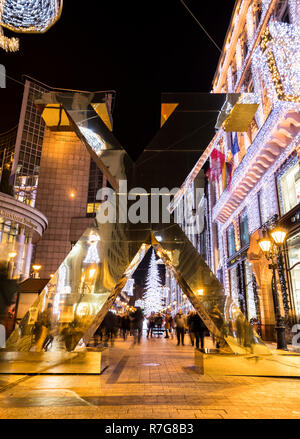 Decoraed Fashion street in Budapest at Christmass - Stock Image