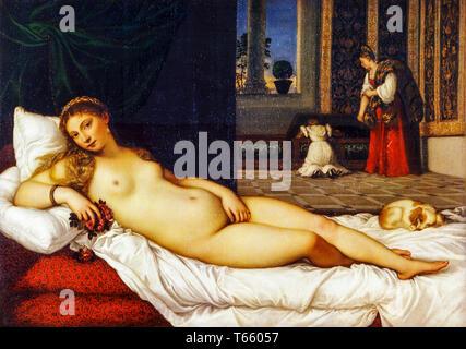 Titian, Venus of Urbino, portrait painting, 1538 - Stock Image