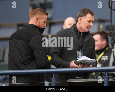 Hampden Park, Glasgow, UK. 14th Apr, 2019. Scottish Cup football, semi final, Aberdeen versus Celtic; Adam Rooney and Chris Sutton take their positions Credit: Action Plus Sports/Alamy Live News - Stock Image