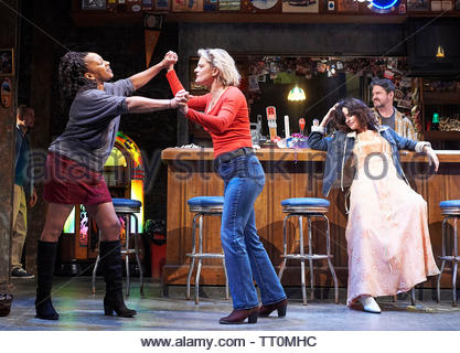 Sweat by Lynn Nottage, A Donmar Warehouse Production directed by Lynette Linton.With Clare Perkins as Cynthia, Martha Plimpton as Tracey, Leanne Best as Jessie. Opens at The Gieilgud Theatre on 12/6/19 pic Geraint Lewis EDITORIAL USE ONLY - Stock Image