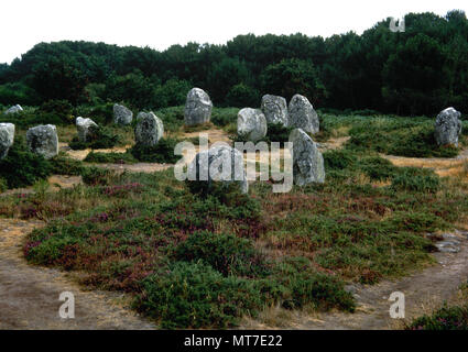 Carnac stones. Alignments. Megalithic site. Brittany, France. Neolithic period. Morbihan departament. Carnac commune. - Stock Image
