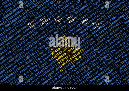 Kosovo flag  is depicted on the screen with the program code. The concept of modern technology and site development. - Stock Image