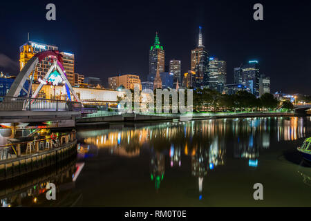 Melbourne night architecture and city landscape. - Stock Image
