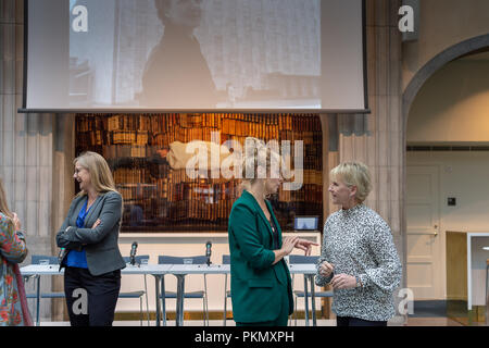 Stockholm, Sweden, September 14, 2018. Seminar about Agda Rössel (1910-2001) Sweden's and the world's first female UN ambassador. Author Elin Jäderström (left) and Foreign Minister Margot Wallström (right). The seminar is held at the Ministry of Foreign Affairs.Credit: Barbro Bergfeldt/Alamy Live News - Stock Image