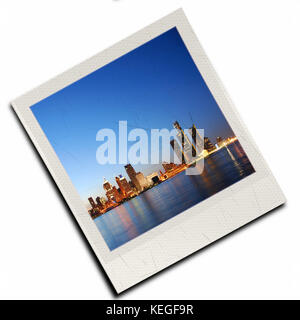 Photo slide with detroit downtown isolated - Stock Image