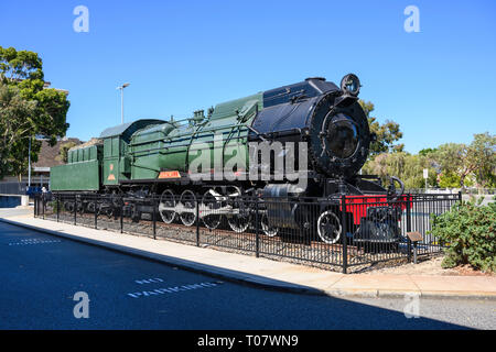 S542 Bakewell steam locomotive of WAGF S class is at East Perth Terminal, former site of the East Perth Locomotive Depot, Perth, Western Australia. - Stock Image