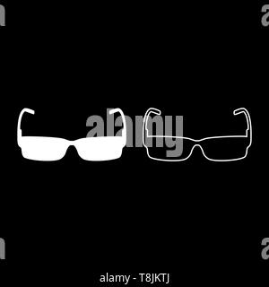 Sunglasses icon outline set white color vector illustration flat style simple image - Stock Image