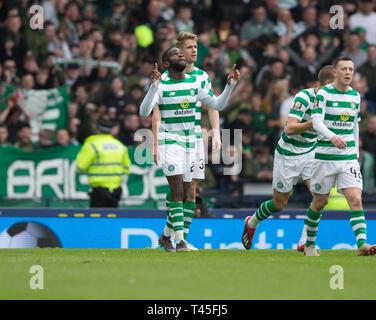Hampden Park, Glasgow, UK. 14th Apr, 2019. Scottish Cup football, semi final, Aberdeen versus Celtic; Odsonne Edouard of Celtic celebrates after scoring for 2-0 Credit: Action Plus Sports/Alamy Live News - Stock Image