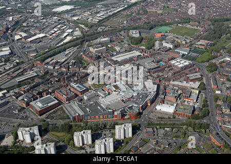 aerial view of Wigan town centre, Great Manchester - Stock Image