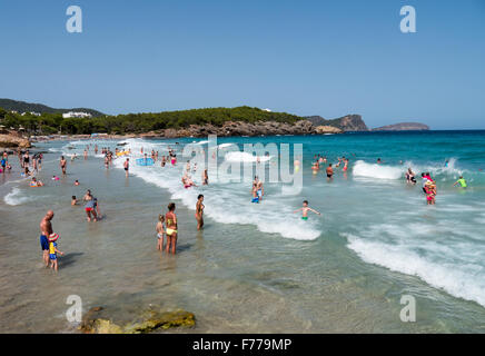 People on Cala Nova beach in Ibiza - Stock Image
