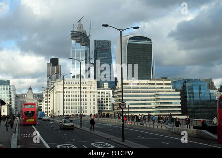 View of the City of London skyline and skyscrapers from London Bridge in December 2018 London England UK  KATHY DEWITT - Stock Image