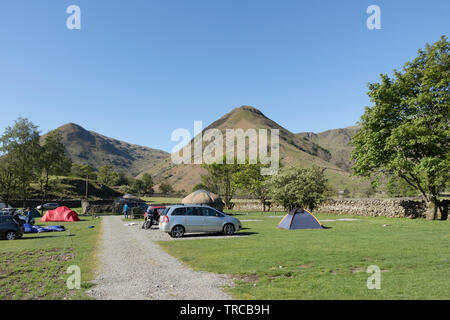 Sykeside Campsite and the View Towards Middle Dodd and High Hartsop Dodd, Lake District, Cumbria, UK - Stock Image