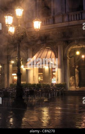Gran Caffè Chioggia at night, Venice, Italy - Stock Image
