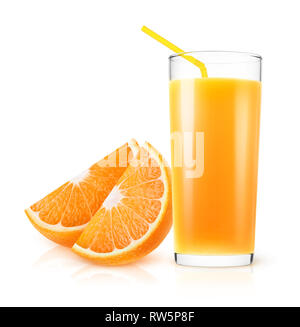 Isolated orange juice. Fresh orange juice in a glass and pieces of fruit isolated on white background with clipping path - Stock Image