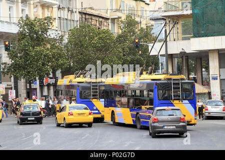 Neoplan trolleybuses in Athens - Stock Image