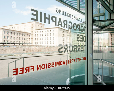 Entrance to Exhibition Topography of Terror at the site of the former Gestapo Headquarters in Berlin Germany - Stock Image