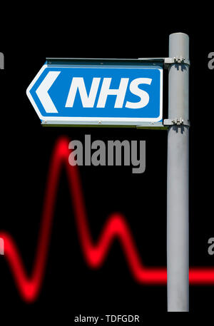 Direction sign pointing to the NHS (National Health Service) for British healthcare in England, UK. - Stock Image