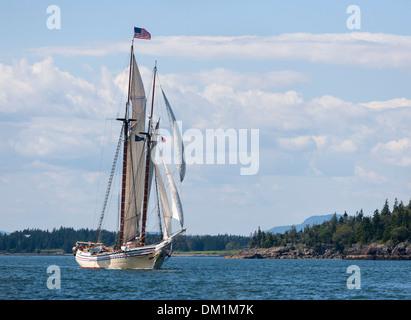 Windjammer Heritage sailing in Maine in Penobscot Bay - Stock Image