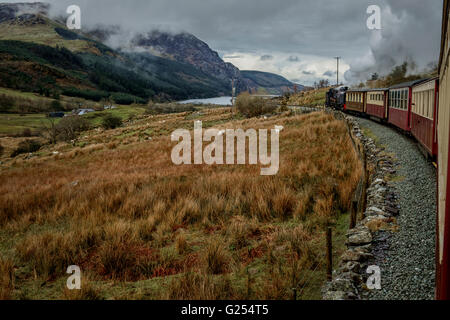 Welsh HighlandSteam Train Porthmadog to Caernarvon North Wales, UK - Stock Image