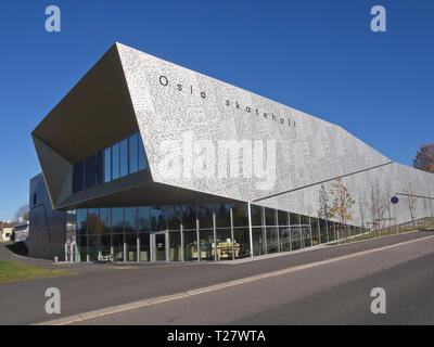 Oslo Skatehall is a modern arena from 2017 for skateboard enthusiasts in the Norwegian capital - Stock Image