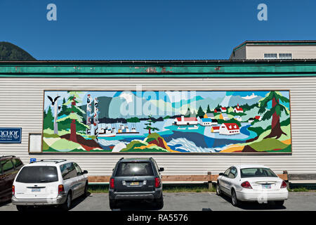A mural on the side of a building in Petersburg, Mitkof Island, Alaska. Petersburg settled by Norwegian immigrant Peter Buschmann is known as Little Norway due to the high percentage of people of Scandinavian origin. - Stock Image