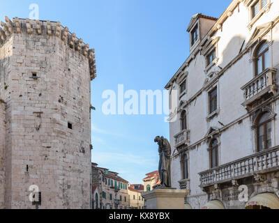 Fruit Square, Venetian Tower & Milesi Palace, Split, Croatia - Stock Image