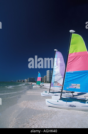 Sailboats on Beach Florida FL Marco Island - Stock Image