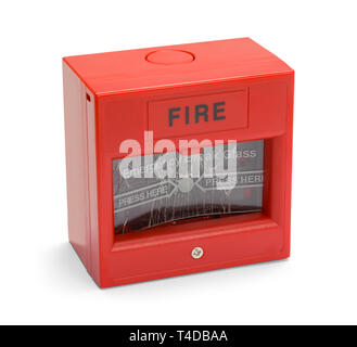Fire Alarm Box With Broken Glass Isolated on White Background. - Stock Image