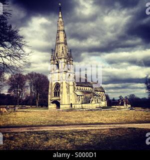 St Mary's church. Studley royal deer park, fountains abbey - North Yorkshire, UK. - Stock Image