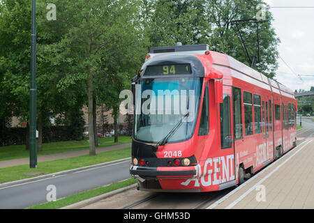 Brussels Low Floor Bombardier Tram No. 2048 -2 - Stock Image