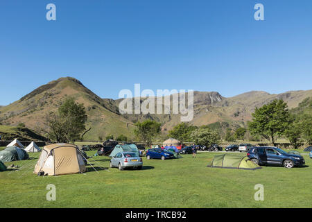 Sykeside Campsite and the View Towards High Hartsop Dodd, Dove Crag and Hart Crag, Lake District, Cumbria, UK - Stock Image