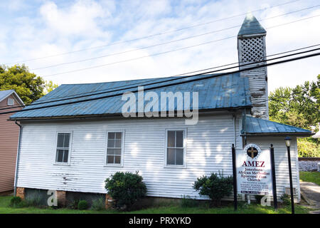 JONESBOROUGH, TN, USA-9/29/18:  A small church on a back street in Jonesborough--The AMEZ, African Methodist Episcopal Zion Church. - Stock Image