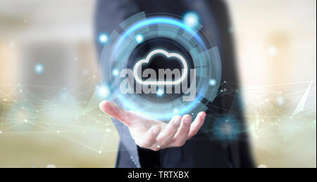 businessman hand with digital technology cloud concept - Stock Image