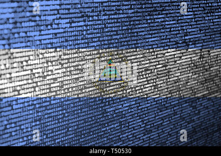 Nicaragua flag  is depicted on the screen with the program code. The concept of modern technology and site development. - Stock Image