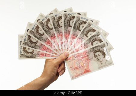 Fan of Fifty Pound Notes with Hand - Stock Image