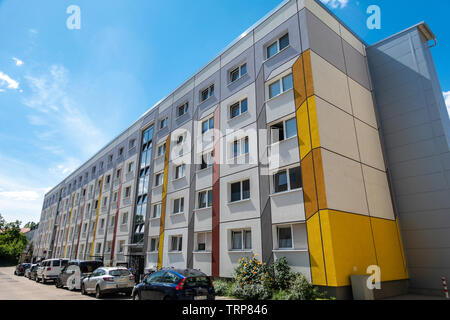 Dessau renovated Plattenbau flats, apartment buildings. Prefabricated with large concrete panels in the DDR, GDR, era. Dessau former East Germany. - Stock Image
