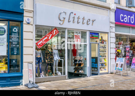 Glitter womens clothing shop in Bromley High Street, South London. - Stock Image
