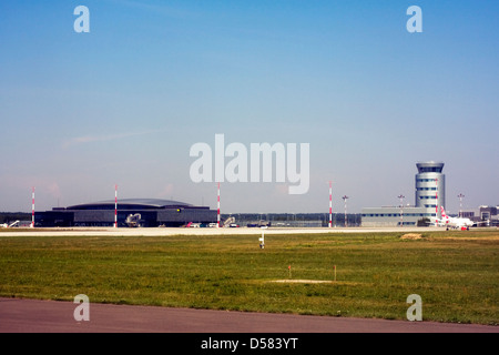 Terminal and control tower at Rzeszow Jasionka Airport, Rzeszow, Poland - Stock Image