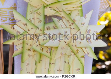 Decoration, Odalan temple festival, Sidemen, Bali, Indonesia - Stock Image